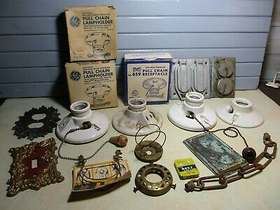 16 Pc Lot Vintage Electrical & Lighting ~ 7 Porcelain Sockets, Outlet Covers 7 Electrical Lighting