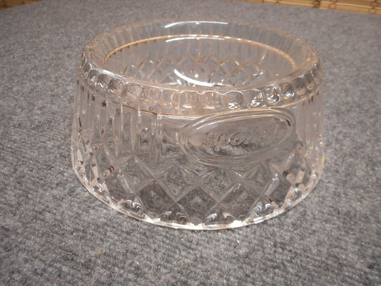 `SPOILED` CRYSTAL PET FOOD GLASS BOWL DISH CAT DOG KITTEN PUPPY Very Heavy