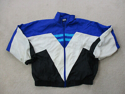 VINTAGE Wilson Jacket Adult Large White Blue Full Zip Windbreaker Coat Mens 90s