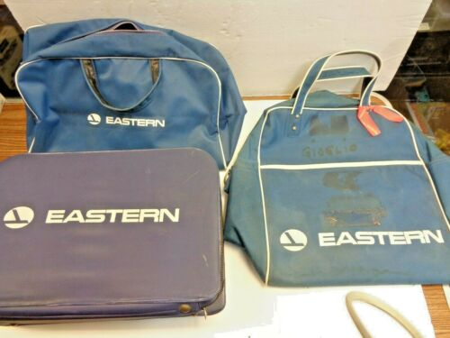 LOT OF EASTERN AIRLINES SMALL SUITCASE, & 2 VINYL CARRY BAGS