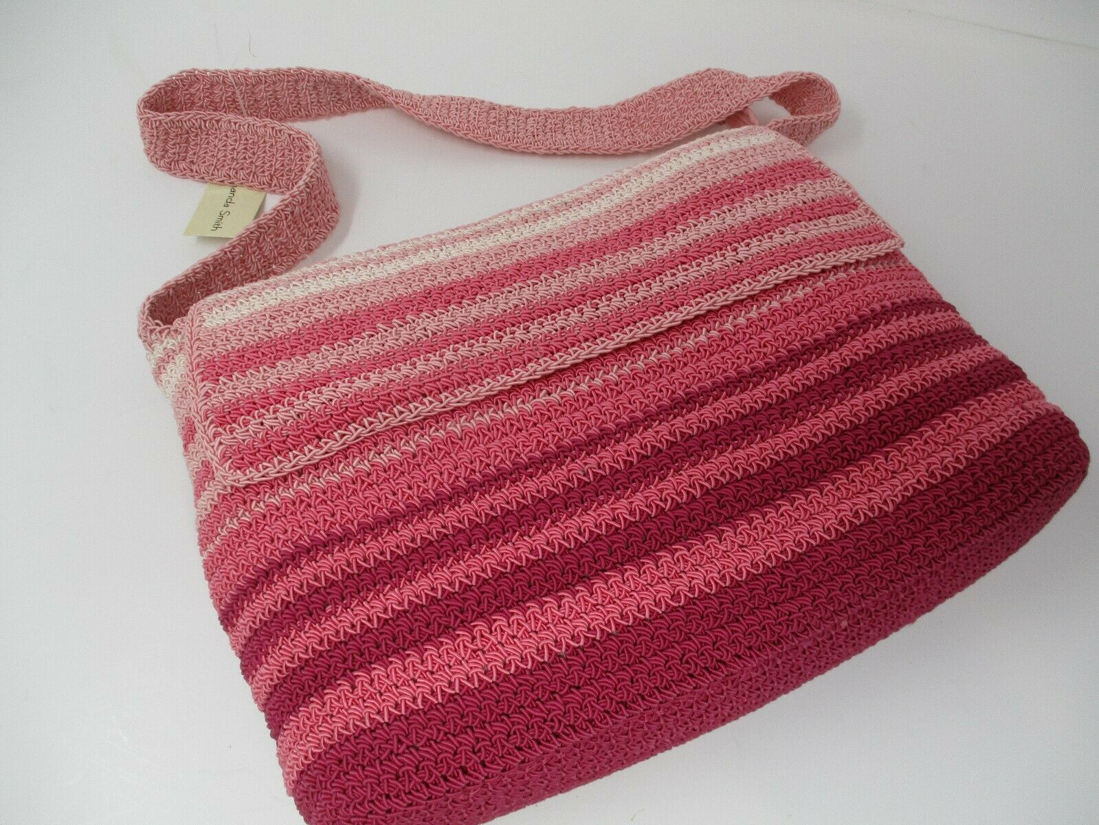 Amanda Smith Pink Stripe Crocheted Shoulderbag Purse New With Tags
