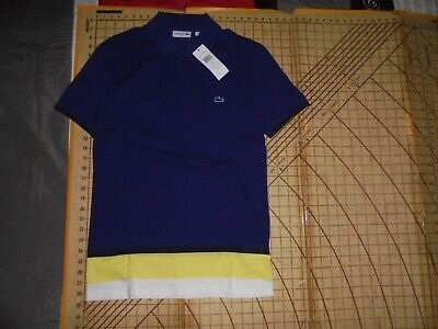 MENS SMALL (3) LACOSTE FITTED BLUE/WHITE/YELLOW POLO SHIRT - NWT