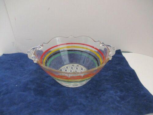 Vintage Depression Glass Anchor Hocking Multi Color Banded Ring Bowl - Rare
