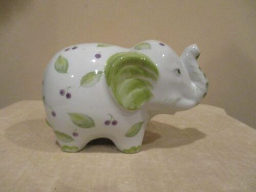 Porcelain Elephant Bank, Green/Purple Leaf/Berries (1pc)