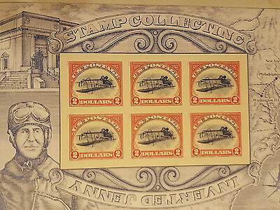 Inverted Jenny $2 US Postage Stamp, Pane of 6 stamps per sheet.