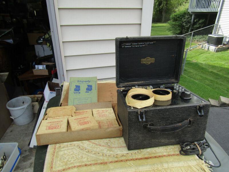 Vintage Instructograph Machine Morse Code Training , Instruction & 10 Training T