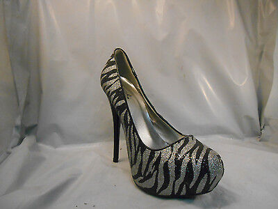Qupid Silver and Black Zebra Print Platform Heels Pumps Women's Size 7 M