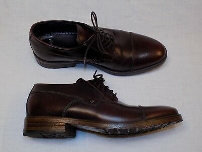 Clarks 66127 Mens 9.5M Denton Cap Toe Burgundy Brush Leather Lace Up Dress Shoes