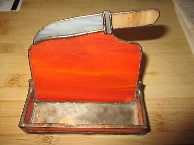 Vintage Beautiful Stained Glass Card Holder With Knife Estate Fresh