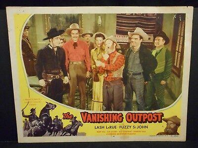 Lash LaRue Fuzzy St. John The Vanishing Outpost 1951 Lobby Card # 4 VG Western