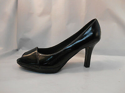 LifeStride Allie Classic Black Synthetic Patent Peep Toe Pumps Women's Sz 6.5 M - Lifestride Peep Toe Pumps