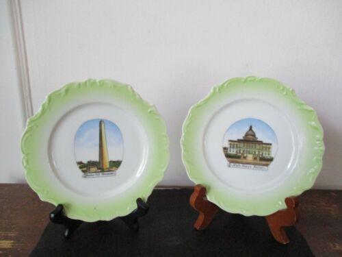 Pair (2) Souvenir Plates Bunker Hill Monument State House Boston Massachusetts