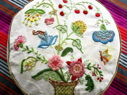 Flower basket, VTG, crewel and more on circular pillow