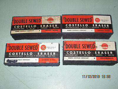 Lot Of 4 Vintage Weber Costello Chalkboard Erasers Noisless Felt Double Sewed