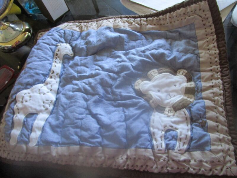 Pottery Barn Kids Lion and Giraffe Quilted crib small sham   New