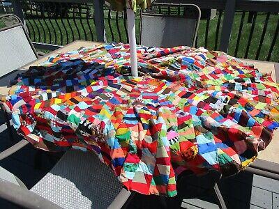 Vintage Handmade Patchwork Crazy Quilt Christmas Tree Skirt Retro Fabrics