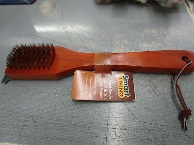Smart Living Wood Handle Grill Brush With Scraper Brand New Free Shipping