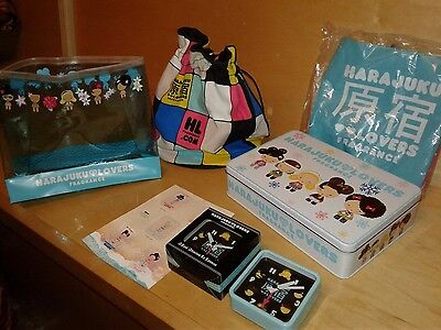HARAJUKU GIRLS COLLECTIBLE TIN BEACH BALL TRAVEL CLOCK DRAWSTRING BAG LOT x7