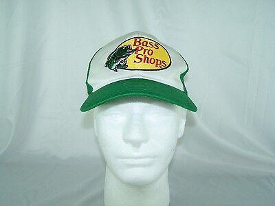 3f832525064c3 Bass Pro Shops Snapback White   Green Mesh Fishing truckers cap Hat