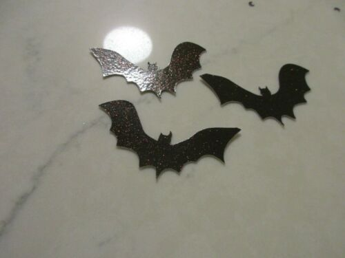 Flying Bats  Die cuts .HALLOWEEN Punchies Glitter 25  Black