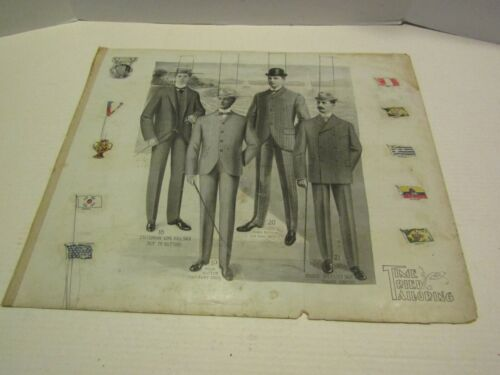 ANTIQUE VICTORIAN ADVERTISING PAPER CARDBOARD TIME TRIED TAILORING MENS SUITS 1