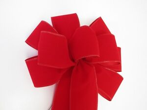 2 large 10 hand made wired red velvet christmas bows outdoor wreath ribbon