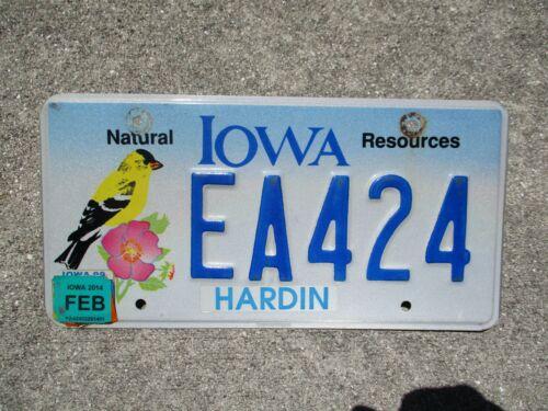 Iowa Bird 2014 license plate # EA 424
