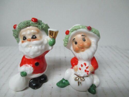 2 Tiny Vintage NAPCO Ceramic Christmas Figures - Santa w Bell & Elf w Bag