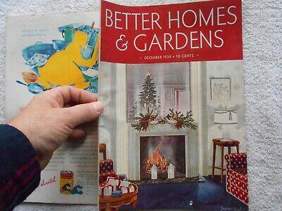 BETTER HOMES & GARDENS Magazine-DECEMBER,1934-SEYMOUR SNYDER COVER (Best Covering Interior Paint)