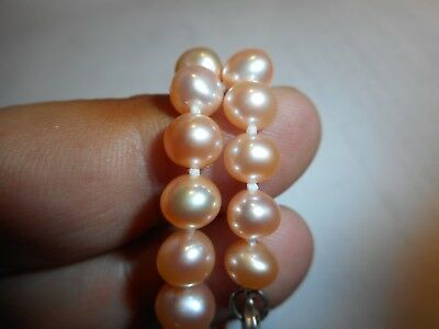 -  6-7mm Cultured PINK Pearl Bracelet  Big Ster clasp knotted silk 7.5