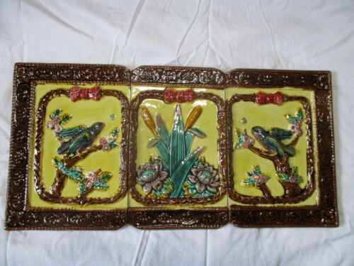 EXQUISITE LARGE ANTIQUE ENGLISH MAJOLICA BLUEBIRD,FLOWERS,CATTAIL TILES 11 1/2 T