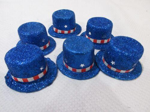 (6) Patriotic 4th of July Glitter Mini Hats Decorations Bowl Basket filler