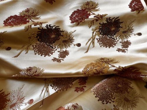 Vintage Chinoisoire Mum Floral Luminous Silk Brocade Fabric ~ Copper Rose Russet