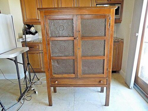 Antique Wood Pie Safe Cabinet 12 Punch Tintype Country Primitive with Drawer