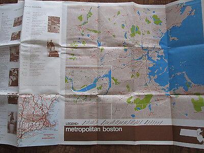 Vtg 1960's Massachusetts MA Travel Tourist MAP/ Metro Boston & Southeastern Mass