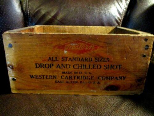 Vintage Wooden Western AMMO BOX DROP SHOT CARTRIDGE