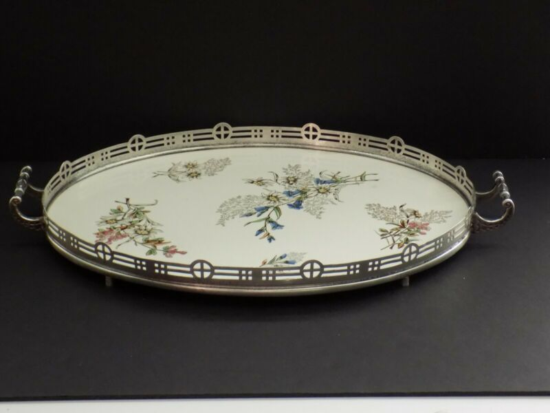 """LARGE ANTIQUE GERMAN PORCELAIN TRAY WITH PIERCED SILVER GALLERY 21"""" x 14""""."""