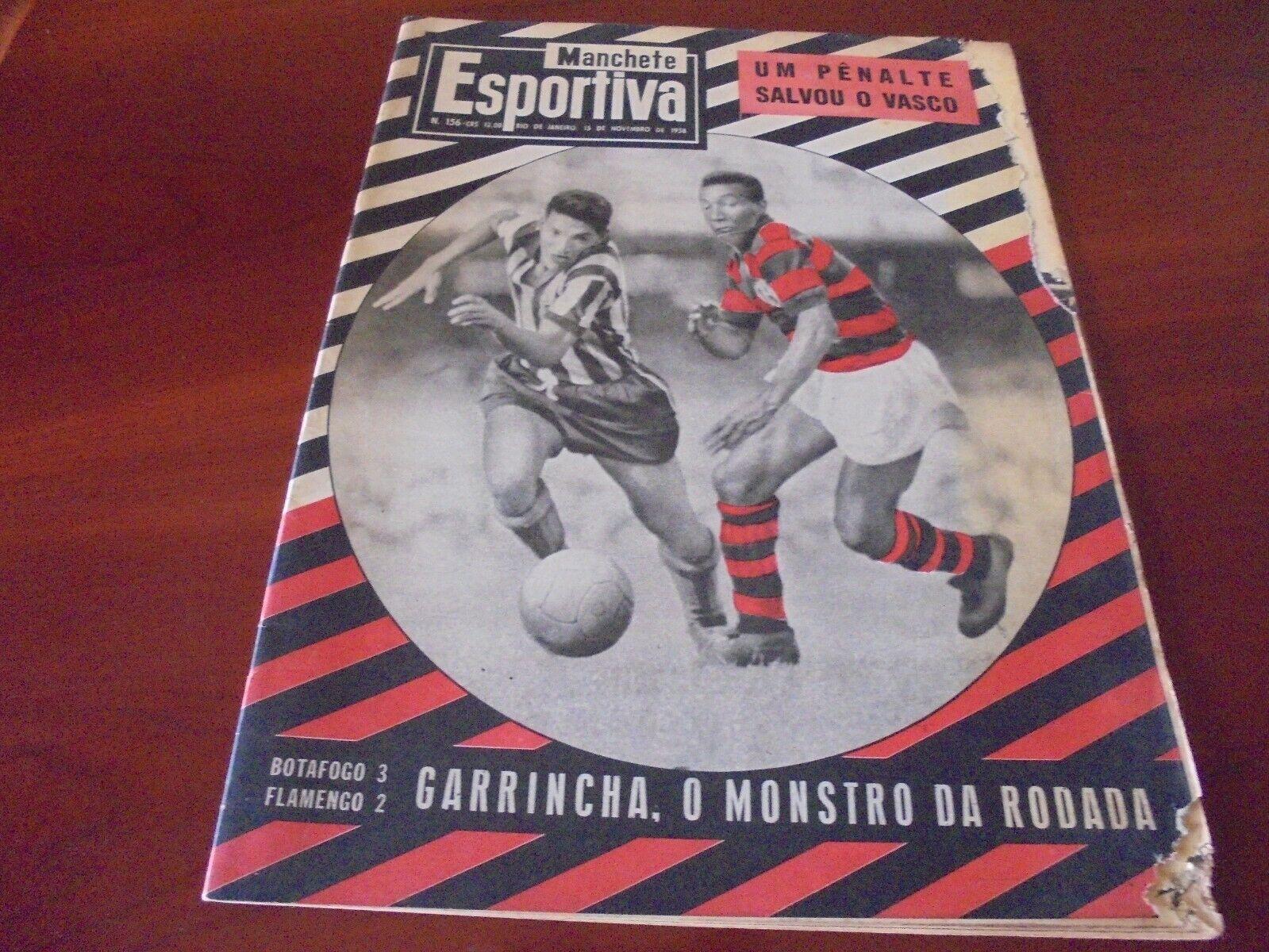 GARRINCHA PELÉ DIDI Botafogo vs Flamengo Brazilian Soccer Football Magazine