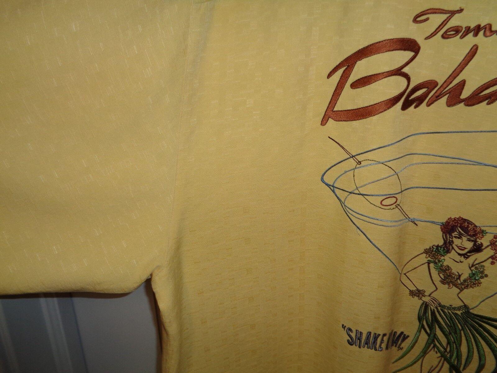 TOMMY BAHAMA EMBROIDERED SHAKE MY DAY SILK DRESS CASUAL HAWAIIAN SHIRT SZ MED - $34.99