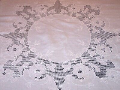"EXCEPTIONAL VINTAGE WHITEWORK LINEN TABLECLOTH, 68"" Sq. ROSE MOTIF, MOSAIC WORK"