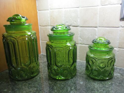 Vintage L.E. Smith Moon And Stars Emerald Green Canisters Set w/Extras