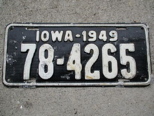 """Iowa 1949 """"waffle"""" license plate #  78 - 4265"""