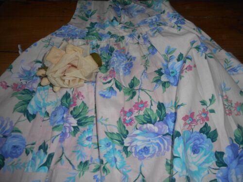 Vintage Shabby Cottage Garden Roses Cotton Fabric Full Apron~ Pink Aqua Blue