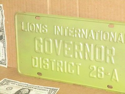 LIONS INTERNATIONAL Governor District 26-A OLD ORIGINAL Sign RARE Missouri Plate