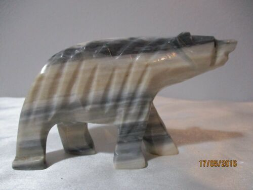 """GREY AND WHITE ALABASTER BEAR FIGURINE 4 1/4"""" LONG"""