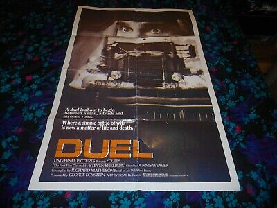 DUEL - ORIGINAL FOLDED POSTER - 1974 - DENNIS WEAVER/STEVEN SPIELBERG - $50.00