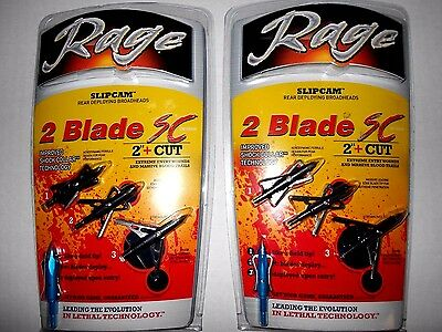 "2-- 3pk. RAGE SC 2 BLADE! Slipcam Expandable Broadheads! 100 grain 2.0"" two"