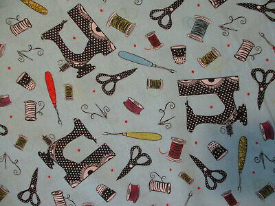Used, RETRO SEWING MACHINES SEW ITEMS SCISSORS BLE DIGITAL PRINTING COTTON FABRIC BTHY for sale  Shipping to India