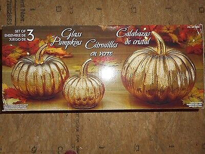 Decorative Glass Pumpkins - Set of 3 - Gold - Fall Halloween Thanksgiving Decor