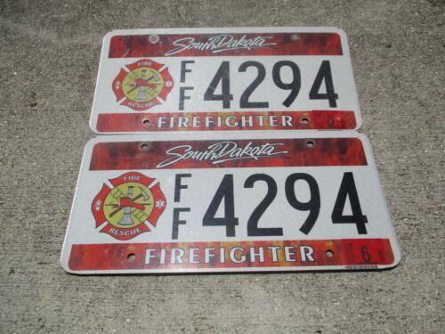 South Dakota 2016 Firefighter license plate pair  #  4294